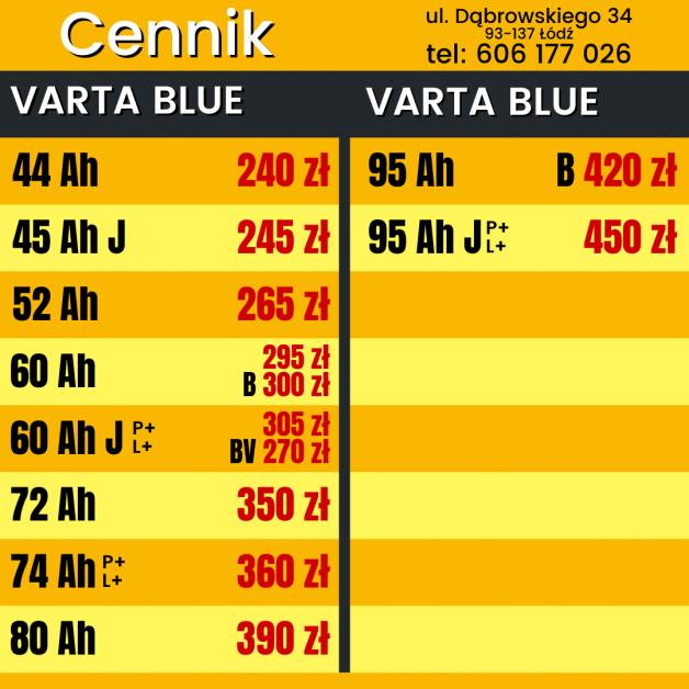 VARTA BLUE akumulatory Łódź
